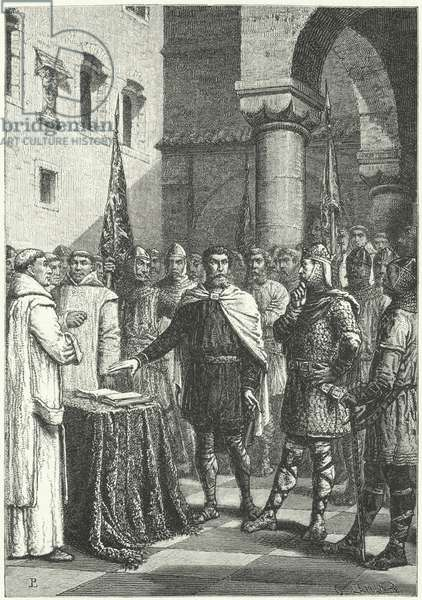 Harold Godwinson swearing an oath promising to support William of Normandy's claim to the English throne, 1064 (engraving)