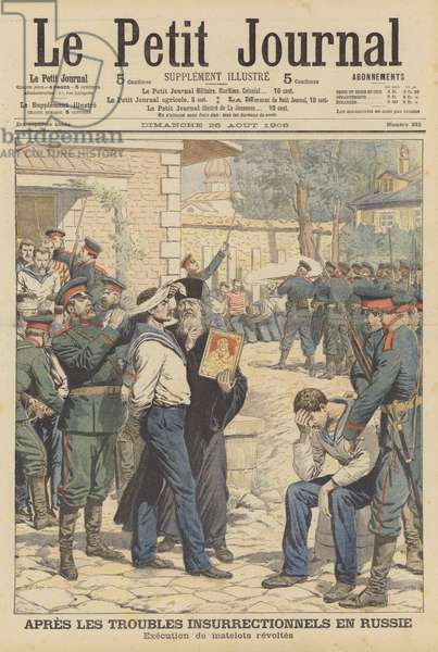 Execution of Russian sailors who mutinied in August 1906 (colour litho)