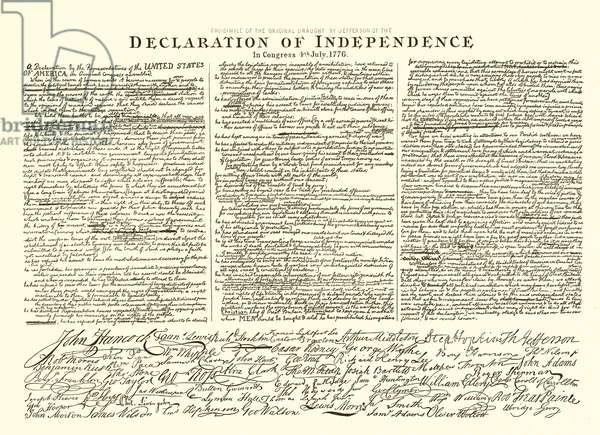 Facsimile of the Original Draft by Thomas Jefferson of the Declaration of Independence in Congress 4th July, 1776 (engraving)