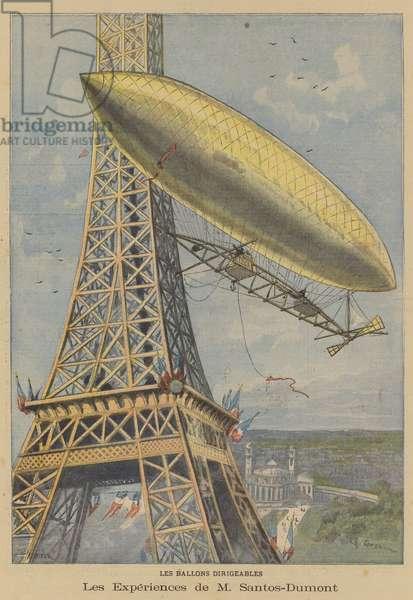 Alberto Santos-Dumont flying his airship around the Eiffel Tower, Paris (colour litho)