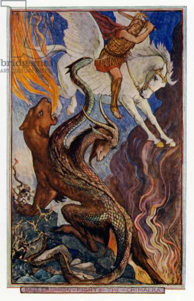 The Winged Horse: Bellerophon riding Pegasus and fighting the Chimera (colour litho)