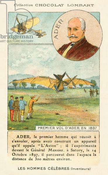 Clement Ader, French aviation pioneer, and his first flight in 1897 (chromolitho)