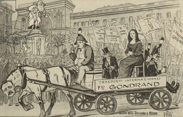 Theft of the Mona Lisa: arrival of La Gioconda in Milan, Italy, 1913 (litho)