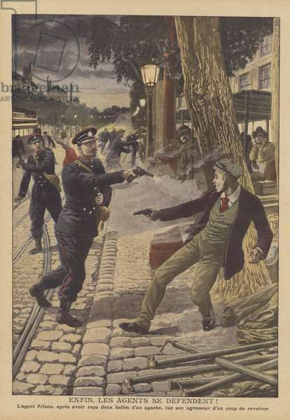Shootout between police and criminals on a Paris street (colour litho)