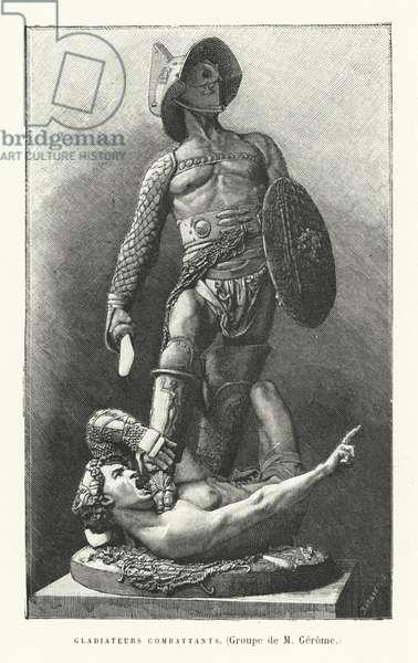 Roman gladiators fighting (engraving)