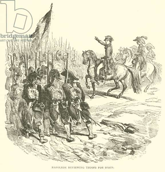 Napoleon reviewing troops for Spain (engraving)