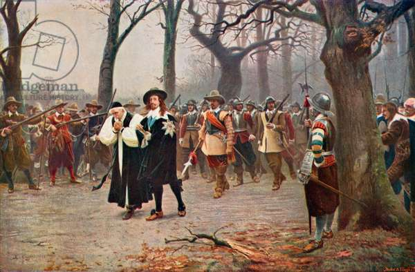 King Charles I on the way to his execution, 1649 (colour litho)