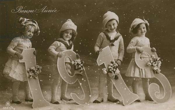 New Year greetings postcard, sent in 1913 (b/w photo)
