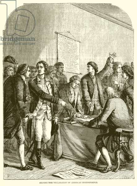 Signing the declaration of American independence (engraving)