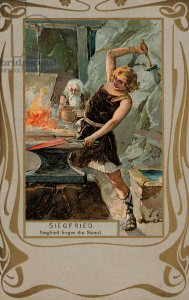 Siegfried forges the sword (colour litho)