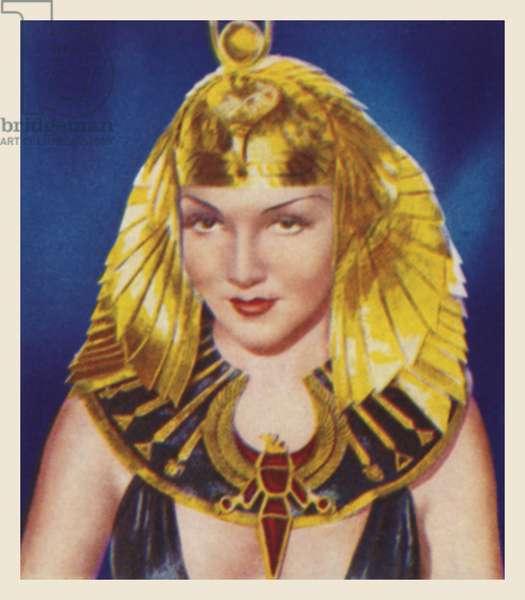 Claudette Colbert, as Cleopatra (colour litho)