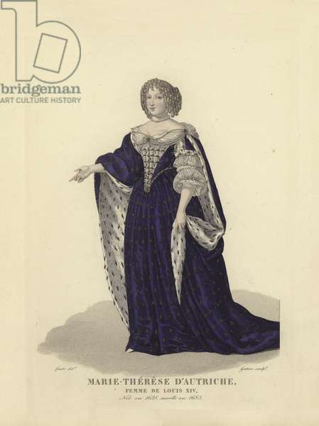Maria Theresa of Austria, first wife of King Louis XIV of France (coloured engraving)