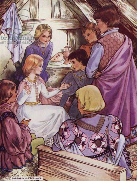 Hans Christian Andersen story: The Six Swans (colour litho)