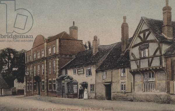Red Lion Hotel and 15th Century Houses, High Street, Lacock (coloured photo)