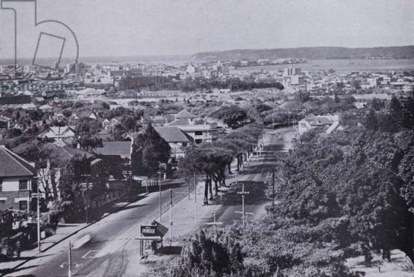 Durban and Harbour from the Berea (b/w photo)