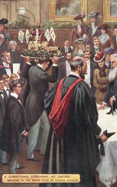 A Christmas ceremony at Oxford University - bringing in the boar's head at Queen's College (colour litho)