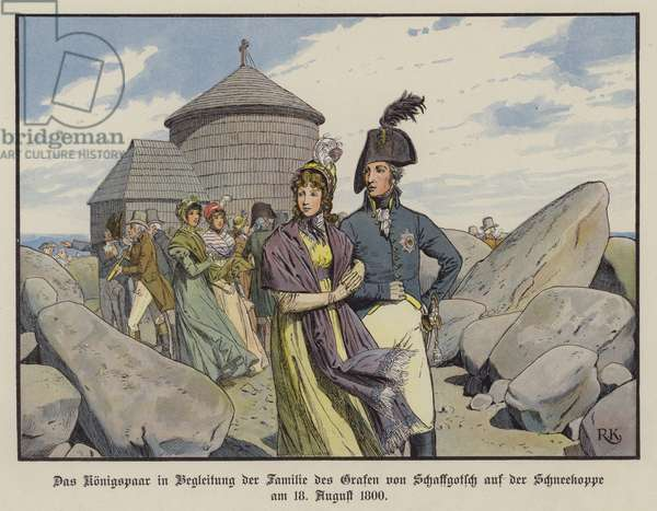 King Frederick William III and Queen Louise of Prussia in the company of the family of Count von Schaffgotsch on the Schneekoppe, August 1800 (colour litho)