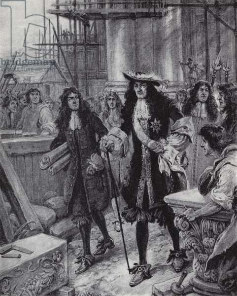King Charles II overseeing the rebuilding of St Pauls Cathedral after the Great Fire of London, 1666 (litho)
