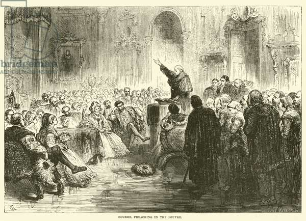 Roussel preaching in the Louvre (engraving)