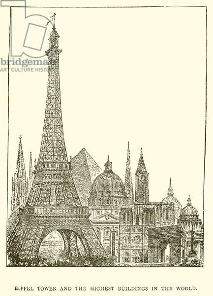 Eiffel Tower and the Highest Buildings in the World (engraving)