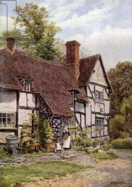 Harvington, near Evesham, Worcester (colour litho)