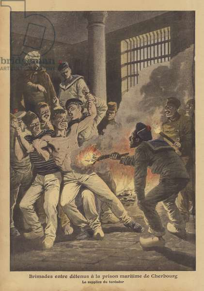 Bullying among prisoners at the maritime prison of Cherbourg (colour litho)