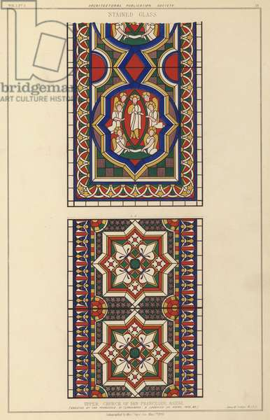 Stained glass executed by Fra Francesco di Terranova and Ludovico da Udine in 1476-1485, Upper Church of St Francis, Assisi, Italy (colour litho)