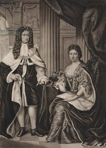 Queen Anne and Prince George Of Denmark (litho)