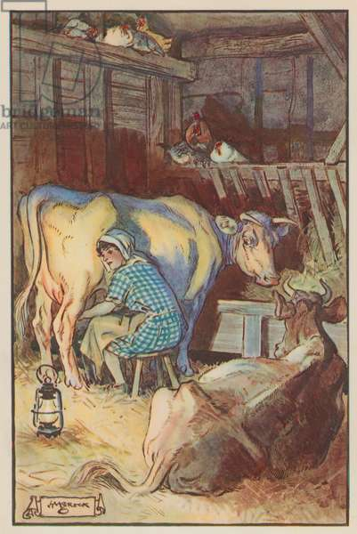 """""""She sat milking in the cold barn"""" (colour litho)"""