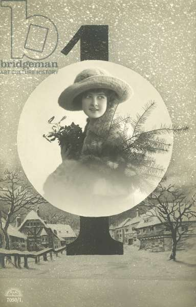 New Year's card with a woman and snowy village (b/w photo)