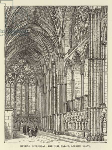 Durham Cathedral, the Nine Altars, looking north (engraving)