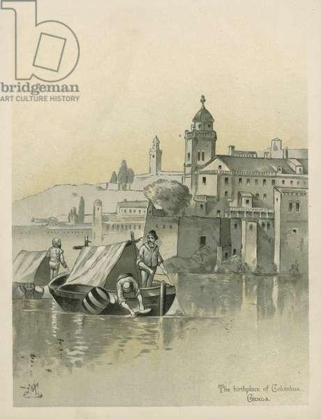 Genoa, birthplace of Christopher Columbus (chromolitho)