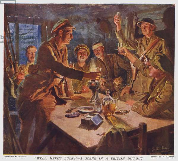 """""""Well, Here's Luck!"""", a scene in a British dug-out (colour litho)"""