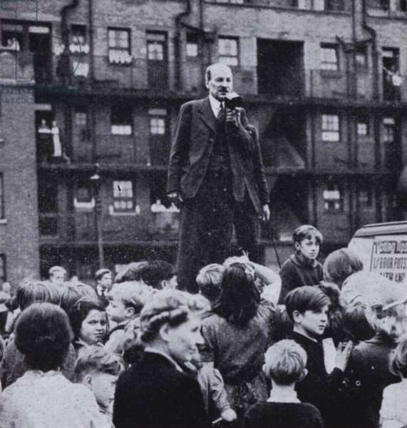 British Labour Party leader Clement Attlee campaigning on his way to victory in the 1945 UK General Election (b/w photo)