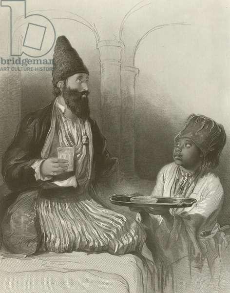 A Persian Prince, his Slave Bringing him Sherbet (engraving)