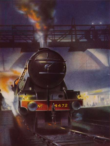 London and North Eastern Railway A3 Class 4-6-2 Pacific steam locomotive Flying Scotsman leaving London King's Cross bound for the north (colour litho)