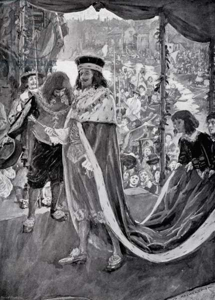 Progress of King Charles I to Westminster Abbey (litho)