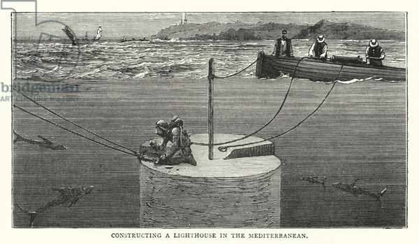Constructing a Lighthouse in the Mediterranean (coloured engraving)
