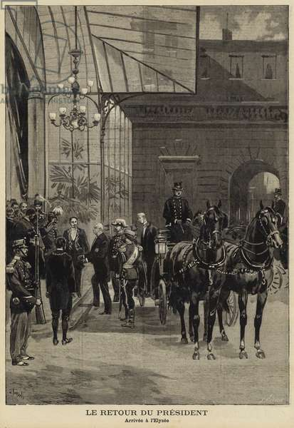 Return of French President Felix Faure from his visit to Russia, 1897 (engraving)