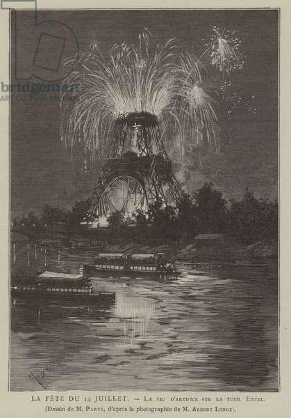 La Fete du 14 Juillet, Le feu d'artifice sur la tour Eiffel (engraving)