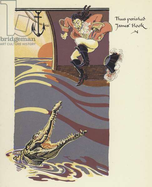 Peter Pan and Wendy: Thus perished James Hook (colour litho)