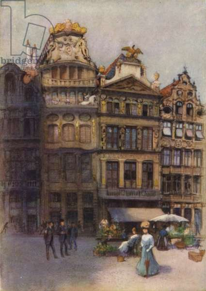 Old Houses in the Grande Place, Brussels (colour litho)