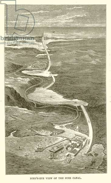 Bird's-Eye view of the Suez Canal (engraving)