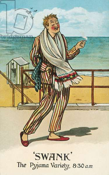Man strolling along the seafront in his pyjamas in the morning (chromolitho)