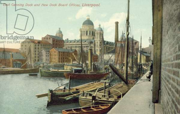 East Canning Dock and new Dock Board offices, Liverpool, Merseyside (colour photo)