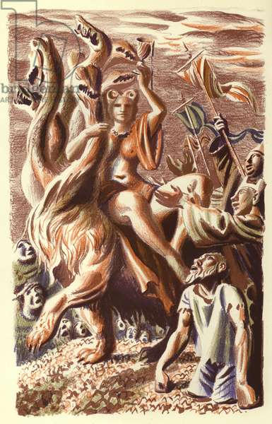 Revelation of St John: The Woman on the Seven Headed Beast (colour litho)