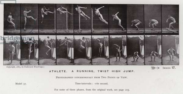 The Human Figure in Motion: Athlete, a running, twist high jump (b/w photo)