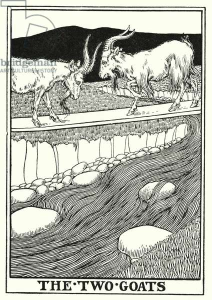 Fables of La Fontaine: The two goats (litho)