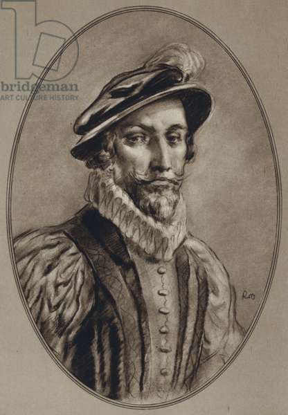 Portraits of Famous Men: Sir Walter Raleigh (litho)