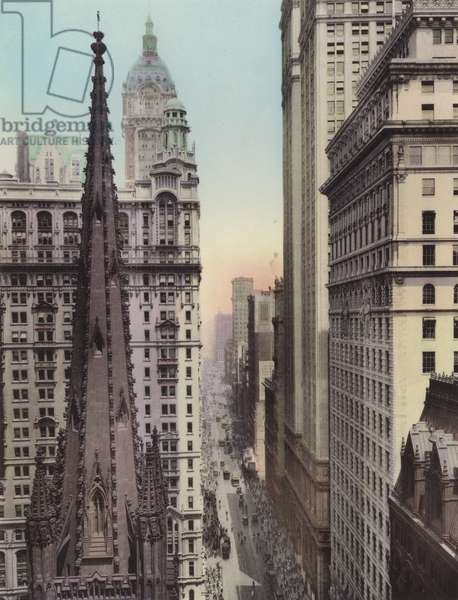 New York: Trinity Church Tower; Broadway, North from Wall Street (photo)